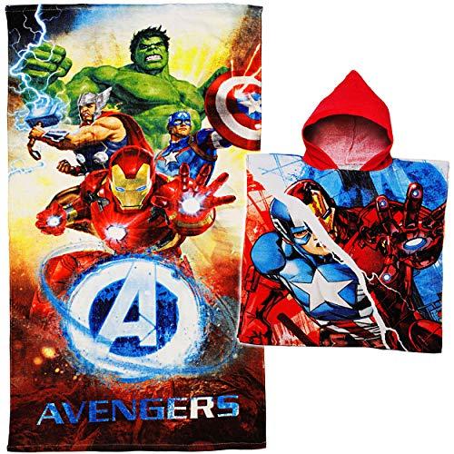 alles-meine.de GmbH 2 TLG. Set _ Badetuch / Strandtuch + Poncho - Avengers - Baumwolle 100 % - 70 cm * 140 cm - Frottee / Velours - Handtuch - Jungen - 70x140 für Kinder - Badeha.. (Avenger Handtuch-set)