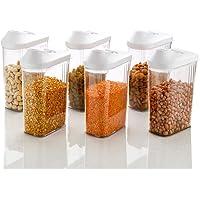 Machak Easy Flow Plastic Kitchen Storage Jars & Container Set, Transparent (6, 750)