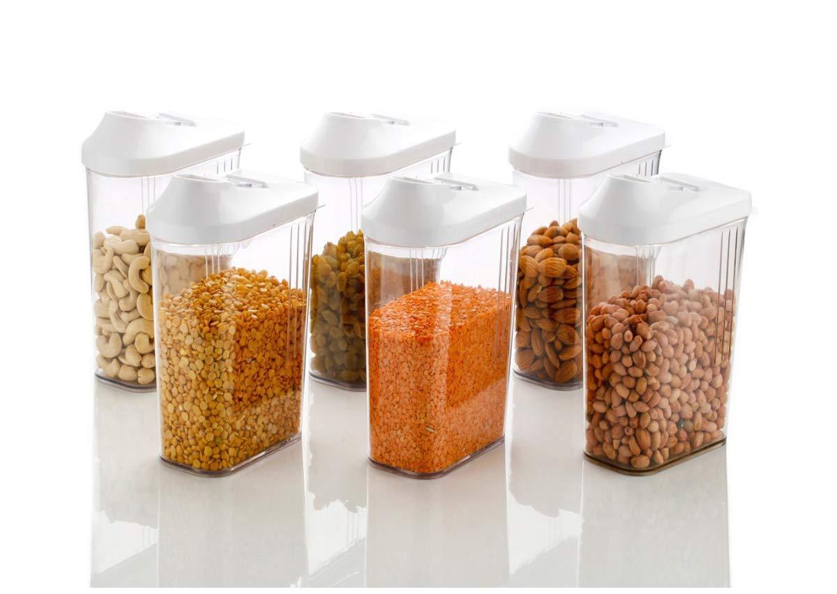 Weltime Easy Flow Plastic Kitchen Storage Jars and Container Set, Kitchen  Storage Container, Cereal Dispenser Storage, Jar Set for Kitchen ...