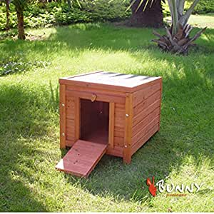 BUNNY BUSINESS Wooden House Hide for Small Animals, 50 x 43 x 46.2 cm