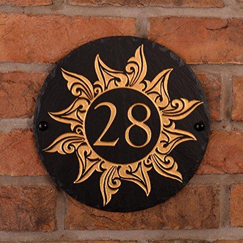 Signs & Numbers Rustikale Schiefer Rund Hausnummer mit Handbemalt Sonne (1) Bild