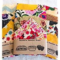Large Set Of 5 Eco Beeswax Food Wraps, handmade in UK, Zero Waste