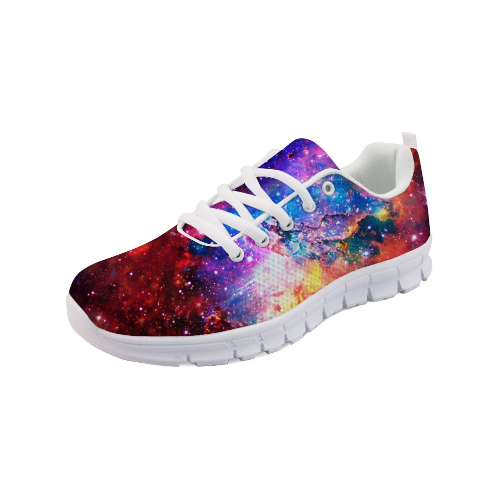 Showudesigns Fashion Lace Up Sneaker Women Running Sport Shoes Galaxy Printing