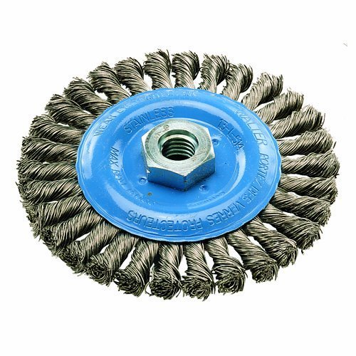 Walter 13L464 Knot Twisted Wire Wheel Brush, Threaded Hole, Stainless Steel 304, 4-1/2
