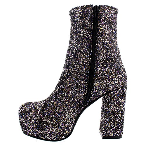 Damen Blockabsatz Plattform Kleid Winter Wildleder Kurz Stiefeletten Multi Funkeln