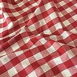 Rot Gingham Stoff Polyester und Baumwolle 2,5cm Check–114,3cm breit, Meterware,