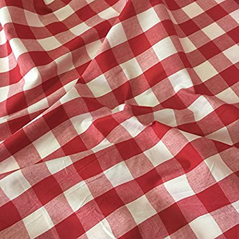 RED Gingham Fabric Polyester and Cotton 1