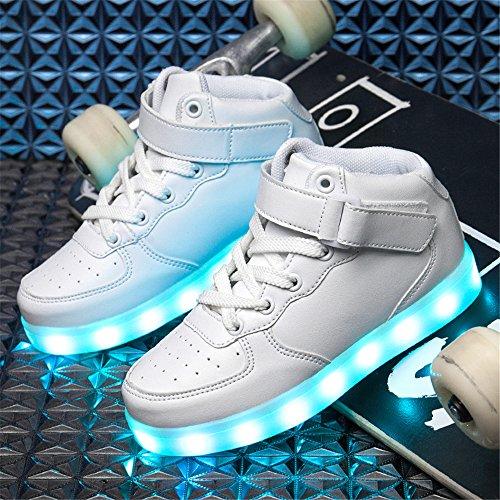 DoGeek Scarpe Led Bambini Scarpe Che Illuminano Bambino Scarpe Luminose Scarpa Bambino Led Bambina la Sportiva Scarpe Con Luci Sneakers bianca