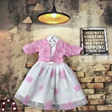 Leoie Delicate Bowknot Lace Casual Doll Clothes Dress for 18inch Doll as Perfect Gift for Kids Pink