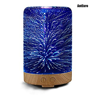 3D Glass Aromatherapy Oil Diffuser, AntEuro 100ml Essential Oil Ultrasonic Cool Mist Humidifier With 16 Color Changing LED Night Light (Cylinder Shape)