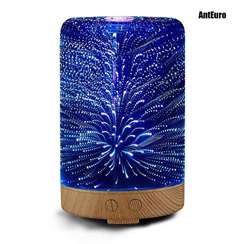 Difusor de Aromas, AntEuro 100ml 3D LED Night Light Aceite Esencial de Cristal Ultrasonido Cool Humidificador de Humo (Forma del cilindro)