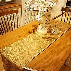 Idea Regalo - Kesoto Lunga Tovaglia Dorata Tovaglia Decorativa per Tavolo Lungo, Tavolo per Banchetti, Table Runner per Feste di Compleanno, Matrimoni, Battesimo, 275 x 30 cm