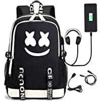 Marshmallow Backpack 3D Luminous School Bags Kids Boys DJ Marshmallow Music Rucksack Unisex Child Girls Women Laptop…