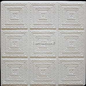 Panneaux De Dalles De Plafond De Polystyrène Plafon (Paquet de 80 pcs / 20 m2) Blancs
