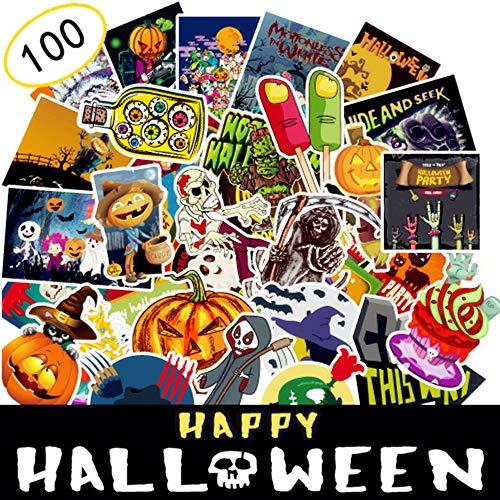 (AhaSky [100pcs] Aufkleber, Halloween Sticker Set Wasserdicht, Stickerbomb für Auto Motorräder Laptop Fahrrad Skateboard Snowboard Gepäck)
