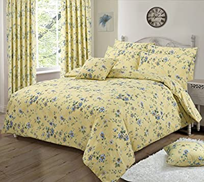King Size Duvet / Quilt Cover Bedding Set Floral Printed Yellow/ Blue/ Green - cheap UK light shop.