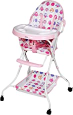 TradeVast | Fold able High Chair, Baby Dining Chair ITN-8013 with Wheel (Pink)