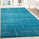 Paco Home Designer Teppich Wohnzimmer Modernes Design In Türkis Grau Meliert, Grösse:80x150 cm