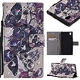 Coque Portefeuille pour Sony Xperia E6/Sony Xperia L1, Housse en Cuir PU avec Dessin Coloré en 3D - Étui à Rabat avec Support & Porte-cartes & Lanière - Flip Wallet Case Cover - Papillon Noir
