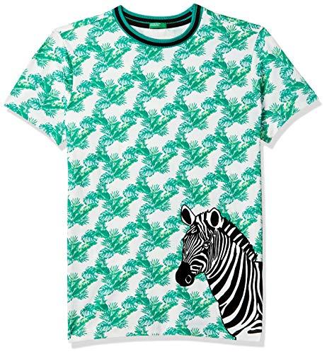 United Colors of Benetton Boy's Animal Print Regular fit T-Shirt (19P3096C2SSDI_901_White+Green 3-4 Years)