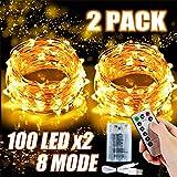 2x 100 Led Lichterkette Weihnachtsbaum Batterie TBoonor Lichterketten für Zimmer, 20M Wasserdicht Kupferdraht Lichterkette mit 8 Modi Fernbedienung & Timer für Party, Außen (Warm weiß - 100Led*2)