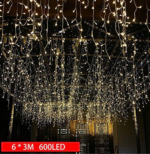 chterkette mit 600 LED-Lämpchen Lichtervorhang Licht Schnur, warm weiße Beleuchtung für Fenster, Weihnachten, Party, Outdoor, Hochzeit, Dekoration usw. (Hochzeit Dekoration)