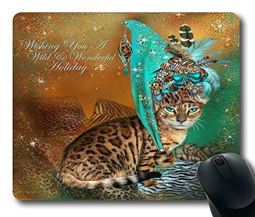 Cat In The Leopard Trim Santa Hat Custom Rectangle Mouse Pad Oblong Gaming Mousepad in 220mm*180mm*3mm (9