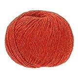 100% Alpakawolle in 50+ Farben (kratzfrei) - 300g Set (6 x 50g) - weiche Baby Alpaka Wolle zum Stricken & Häkeln in 6 Garnstärken by Hansa-Farm - Orange Heather