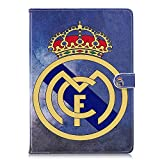 Nueva ipad 9.7 2017 Funda,ipad Air 2 Funda,ipad Air Funda,Real Madrid Barcelona Chelsea AC Milan Liverpool Arsenal Football Équipe Voltear Cuero De la PU y PC Cáscara Dura De la Cubierta Del Soporte Funda para Apple ipad Air 2/ipad Air/Nueva ipad 9.7 2017 ( Real Madrid )
