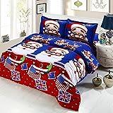 Anself 4Pcs Cotton Material Bedding Set 3D Printed Cartoon Deep Pocket Bedclothes Duvet Quilt Cover Bed Sheet 2 Pillowcases