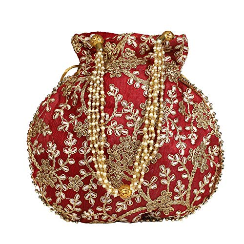 Fancy Walas Presents Designer Rajasthani Style Royal Clutch Silk Potli Batwa Bag with Beads Work Bridal Purse with Gota Patti Pottly Purse Women handbag Potli Bags (Multi-Coloured)