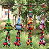 Generic Ethnic Tassel Bead Colorful Gourd Wooden Crafts Gift Charms Pendants Wind Chimes
