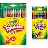 Crayola Twistables Crayons, Pack of 12 & Wallet Of 10 Twistable Pencils
