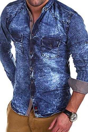 MT Styles Jeanshemd mit Krempelarm Hemd R-70 Hellblau