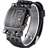 Dilwe Montre LED à mouvement électronique avec cadran rectangulaire et bracelet en polyuréthane, affichage de la date et…