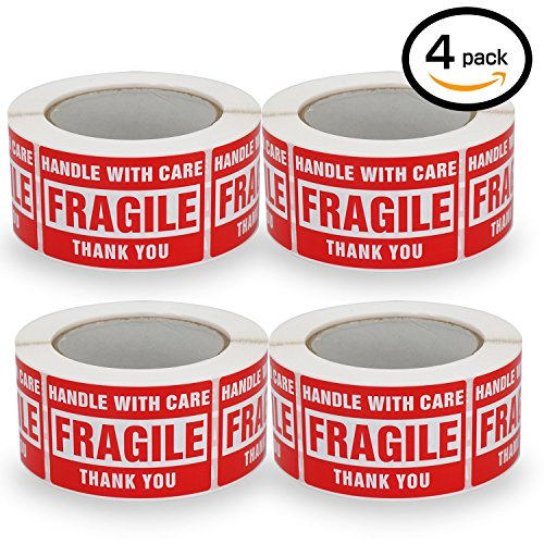 4 Rolls/2000 Labels,Handle with Care -Fragile- Thank