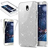 Cover per Samsung Galaxy J5 2017 Integrale 360 Gradi, Samsung Galaxy J5 2017 Custodia in TPU Silicone Glitters, Surakey [3 in 1] Full Body Cover Samsung Galaxy J5 2017 Case Gomma Morbida Double Gel Protezione Totale da Davanti a Dietro con Brillantini Bling Sparkles Soft Touch Screen Skin Ultra Sottile Bumper Custodia, Antigraffio, Antiurto, Antiscivolo, Argento immagine