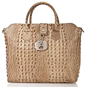 italienische Damen Handtasche Dallas aus echtem Leder in oliv braun, Made in Italy, Shopper Bag 39x30 cm