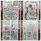 4 plantillas A4 con frases, cenefas, grecas, letras, flores tarjetas invitaciones Diarios, scrapbboking, libros recortes, tar