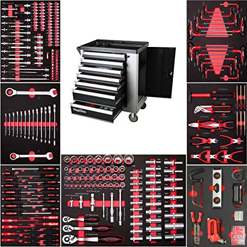 Mephisto Premium Werkzeugwagen Werkstattwagen mit Soft Inlays und 7 mit Werkzeug wie Schraubenschlüssel, Ratsche mit Nusskasten, Schraubendreher usw.befüllten Schubladen