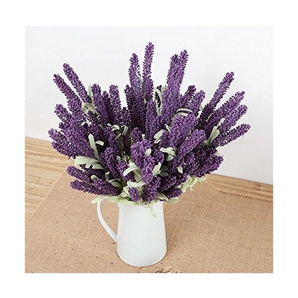 ghhshjhlk Ramo De Lavanda De Alta Simulación De Flores De Seda De 12 Cabezas, Fiesta De La Iglesia De La Boda Y La Decoración del Hogar Púrpura Claro