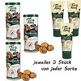 Schecker Tubi Dog Leberwurst 3 x 75g und Tubidog Delikatess Fleischbällchen 3 x 120g ganz ohne Salz Gewürze oder Zucker hergestellt