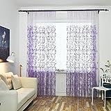 Gowind6 Vorhang für Wohnzimmer, Stickerei, Garn, Schlafzimmer, Wohnzimmer, Fenster, 1 x 2,5 m (lila)
