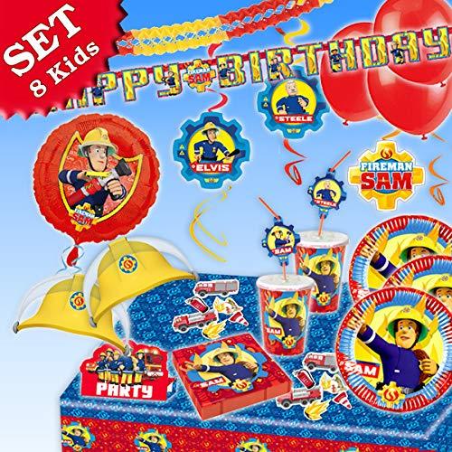 Pompier Sam anniversaire de Kit de décoration, 87pièces pour anniversaires d'enfants, garçons et filles et Pompiers de Devise de Fête pour 8Kids