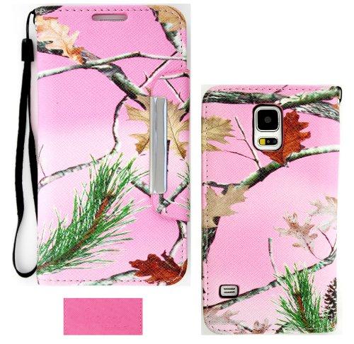 Wireless Fones TM Hunter Series Echt AST Blatt Pink Camo Wallet Flip Hard Case Cover für Samsung Galaxy S5(2014Version) -