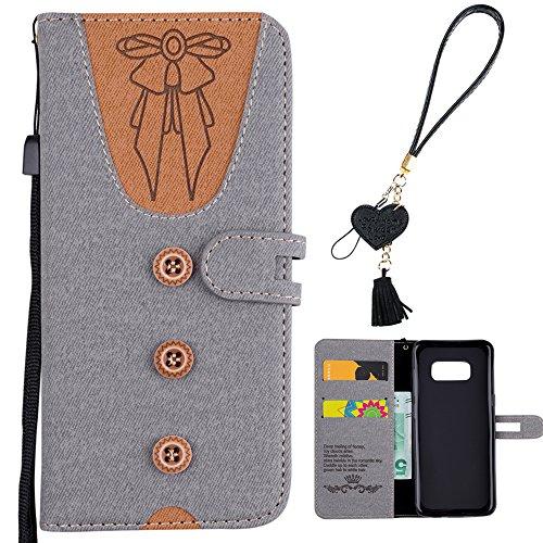 Samsung S8 Plus Handytasche, Cute Taste Krawatte Design Grau PU Leder Kunstleder Flip Case mit ID Kreditkarten Magnetverschluss Stand Fuction Bookstyle Tasche für Samsung Galaxy S8 Plus