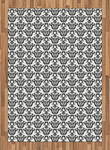 ABAKUHAUS Damast Teppich, Rokoko Revival Curls, Deko-Teppich Digitaldruck, Färben mit langfristigen...