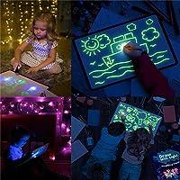 Tablero de Dibujo Fluorescente, Doodle Drawing Mat Draw con Light Fun y Drawing Board Magic Pen para niños Juguetes de...