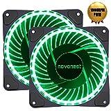 novonest Gehäuselüfter PWM 4pin-LED Quiet Edition 120mm High Airflow GRÜN LED Lüfter,2 Stueck pro Packung,Anti Vibration Gummi Pads