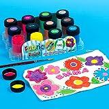 Baker Ross Stoffmalfarben in 18ml Glastöpfen in 12 bunten Farben für Kinder zum Bemalen von Textilien und Stoff - (12 Stück)